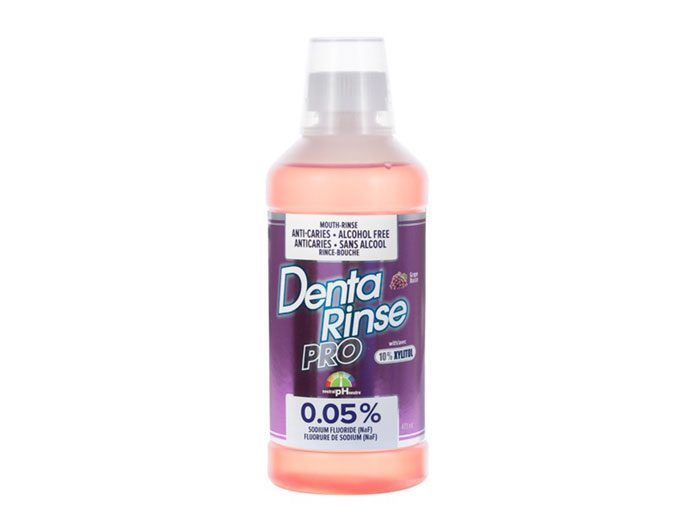 Denta-Rinse PRO, with 0.05% Sodium Fluoride (NAF), neutral pH, with 10% Xylitol, Alcohol free