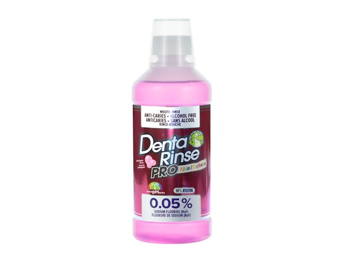 Denta-Rinse PRO Kids / Enfants, with 0,05% Sodium Fluoride (NAF), neutral pH, with 10% Xylitol, Alcohol free